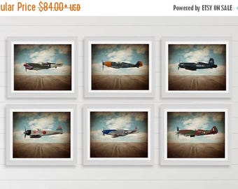WEEKEND SALE Vintage Wwii Airplanes on Sky Background Setof 6 Photo Prints, Airplane Wall decor, Boys Room Decor, Airplane Wall Art