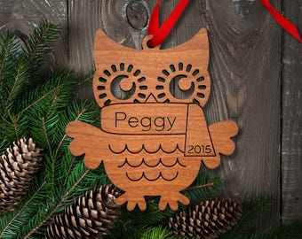 Wood Owl Ornament: Personalized Name, Boy or Girl, Classic Cute Woodland Animal Ornament, Baby's First Christmas 2018