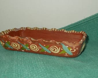Vintage 1950's or 1960's Mexican Pottery Tray-Hand Crafted & Painted-Mexican Folk Art-Green Trim
