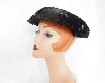 Black 1950s hat, woman's vintage mushroom toque, flocked with roses