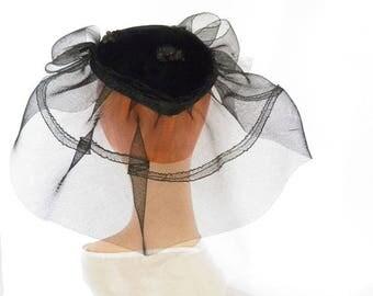 1940s black hat, vintage woman's velvet and tulle calotte, high fashion