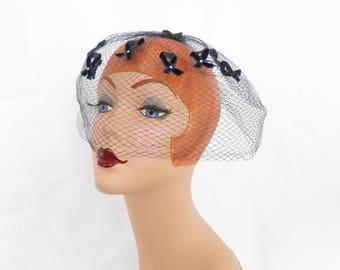 Vintage birdcage hat, 1960s navy blue whimsey veil