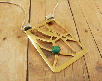 Red Brass and Turquoise Pendant Necklace