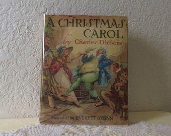 A Christmas Carol, Illustrated by Everett Shinn, Introduction by Lionel Barrymore. Hardcover with Dust Jacket. 1938
