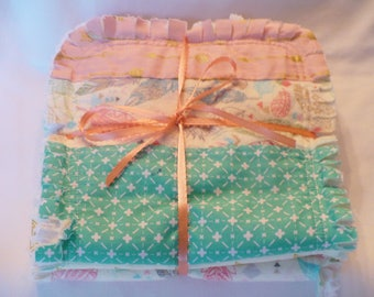 Baby Girl Rag Quilt Burp Cloth Set of 3 Baby Girl Burp Towels Feathers Tribal Arrows Peach Gray Aqua Mint with Gold Baby Shower Gift