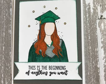 Girl, Woman, Red Hair, Pale Skin Tone, Green, Gray, Graduate, Graduation, Congratulations, Greeting Card, Handmade, Paper Craft, Stamped