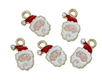 10 pcs. Gold Plated Santa Claus Christmas Enamel White Red Charms Pendants - 17mm x 11mm