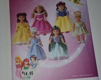 """Disney characters Doll Clothes Pattern, Simplicity 1581, fits 18""""  Doll, uncut, Snow White, Cinderella, Ariel, Sleeping Beauty, Tinkerbelle"""
