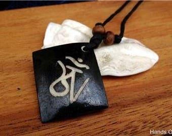 Om Mani Padme Hum Yak Bone Pendant From Nepal Copy
