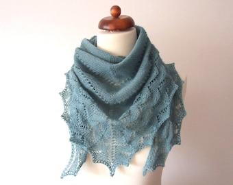triangle scarf knit, greyish green wool scarf, knitted lace shawl