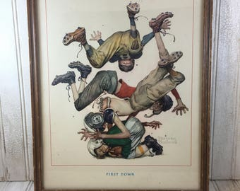 "Vintage Wooden Framed Norman Rockwell ""First Down"" Print"