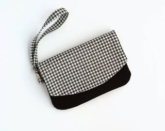 Cell Phone Wallet Clutch - Smartphone Wallet - Cellphone Wristlet - Houndstooth Bag - Birthday Gift for Her - Ready to Ship