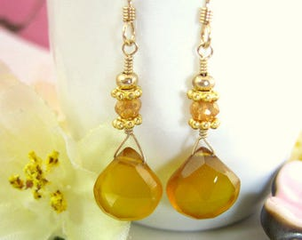 Yellow chalcedony mustard yellow drop earrings, Honey yellow chalcedony dangle earrings