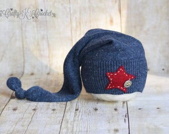 Newborn Boy Hat Upcycled Sleepy Time Hat Newborn Baby Boy Photo Prop Hat - Blue Hat w/ Red Star and White Stitching Patriotic READY TO SHIP