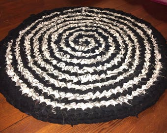 Spiral Upcycled Area Rug- Black and White