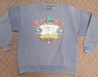 Vintage Men's Rugby Sweatshirt Made By American Eagle Size XL Light Blue Gray