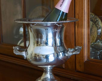"""Sheridan Silver Plate Champagne Bucket. Silverplate Wine Cooler Ice Bucket. Vintage Silver Trophy Cup Urn Vase Marin County Classic """"M"""" 1983"""