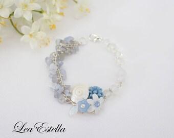 Seashell Bracelet Mermaid bracelet mermaid jewelry beach jewelry blue flower bracelet wire wrapped bracelet Sea inspired - Sea Dreams