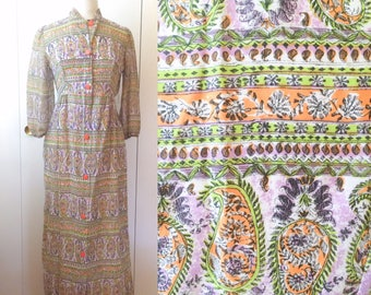 60s maxi dress, psychedelic purple print, sheer,  XS S