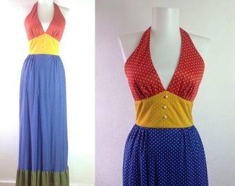 70s Maxi Dress   XXS Long Dress   Polka Dot Dress     XXS Halter Dress    Beach Party Dress  Really! That's the brand