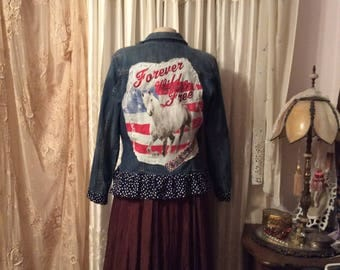 Denim Jacket, wild white horse, red white blue american flag colors, forever wild and free, polka dots blue white, fourth of july, LARGE