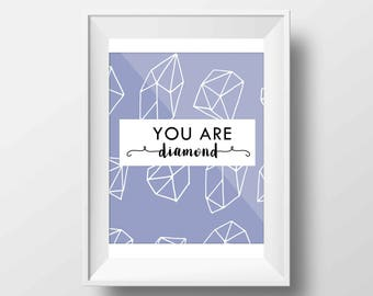 Geometric Gems Motivational Quotes You Are Diamond