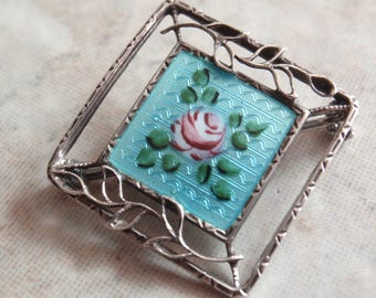 Turquoise Guilloche Brooch Sterling Silver Antique Vintage V0490