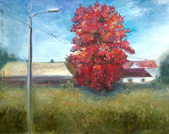 Autumn and Maple. 50 cm x 70 cm.Original oil painting .Canvas stretched.
