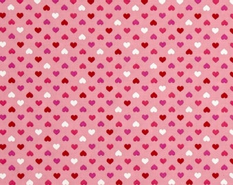 robert kaufman sevenberry petite classics mini hearts valentine fabric pink red white hearts on pink