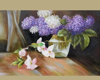 70% off ORIGINAL Oil Painting Hydrangeas from the Garden 23 x 36 Flowers Realism Vase White Table Purple ART By MARCHELLA