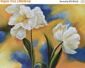 70% OFF ORIGINAL Oil Painting A New Beginning 23 x 30 Flowers White TulipGolden  Modern Green Blue  Realism Art by Marchella