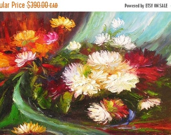 70% OFF ORIGINAL Oil Painting Harmonize 23 x 36 Palette Knife Colorful Flowers White Red Textured Blue Green Romantic Love Floral by Marchel