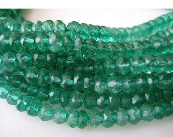 ON SALE 50% 10 Strands Wholesale Price, Coated Quartz Bead, Green Onyx Color, Micro Faceted Rondelle Beads, 4mm Beads, 14 Inches Each