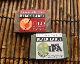 Whiskey and Beer soap duo - Aromaholic Black Label collection - Old Fashioned soap and Black IPA soap - beer soap - whiskey soap
