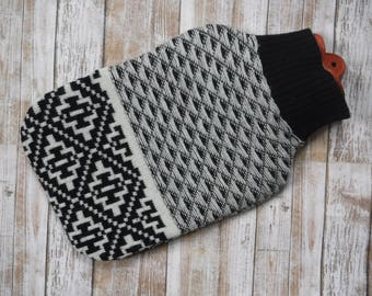Cashmere Wool Hot Water Bottle Cover - Upcycled Sweater - Black and White - Cozy Eco Friendly Sleeve