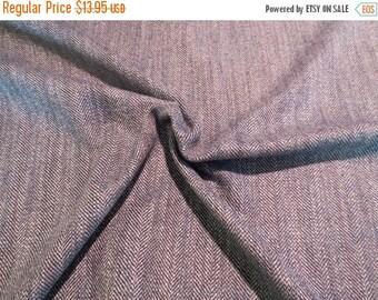 ON SALE Classic Blue Gray Herringbone Wool Blend Fabric--One Yard