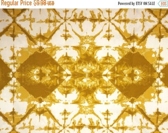 ON SALE Mustard on White Tie Dye Print Pure Cotton Fabric--By the Yard