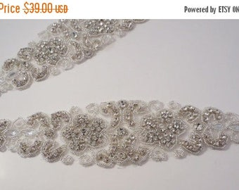 ON SALE Fabulous Rhinestone and Beaded Applique--One Piece