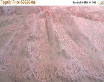 ON SALE Elegant Baby Pink  Floral Design French Chantilly Lace Fabric--One Yard