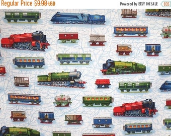 ON SALE Colorful Railcars on Blue All Aboard Train Print Pure Cotton Fabric--By the Yard