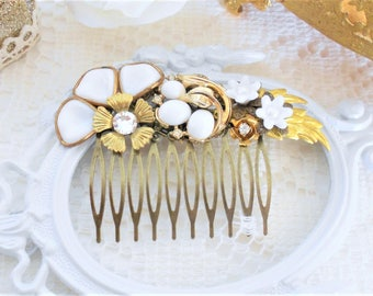 SALE, 50% OFF, Floral Hair Comb, Gold Leaf Hair, Assemblage Comb, White Hair Accessories, Collage Hair Comb, Gold and White, Golden Leaves
