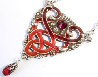Celtic knot necklace, red celtic, triquetra, handpainted jewelry, celtic pendant, celtic jewellery, red crystal,  silver filigree