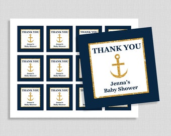 Personalized Favor Tags, Navy Blue & Gold Thank You Tags, Nautical Baby Shower, Wedding Shower Party, DIY Printable, PERSONALIZED
