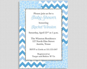 Baby Shower Invitation, Light Blue Mums, Baby Shower Invite, Floral Chevron, Baby Boy, DIY PRINTABLE