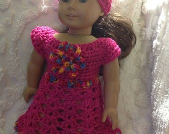 Shocking Pink doll dress hat set with flower detail for America girl bitty baby reborn next generation crochet dress clothing