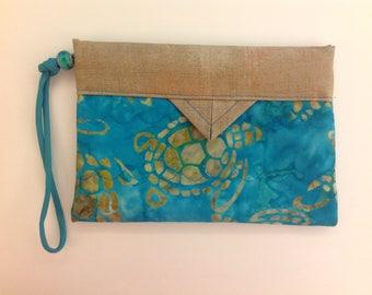 "Sea Turtles Quilted Batik Fabric Wristlet Purse Handbag 7"" x 5"""