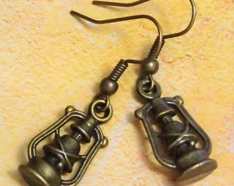 Elegant Antique Bronze Oil Lamp Earring