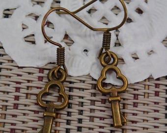 Elegant Antique Bronze Tiny Little Key Earring