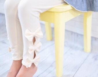 Open Leg Leggings with Bows for Girls / Leggings with Bows / Girls Leggings / Available in Many Colors