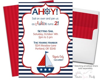 Nautical Birthday Invitation - Nautical Birthday Invite - Sailboat Party - Nautical Sailboat - Nautical Invitation - Nautical Invite
